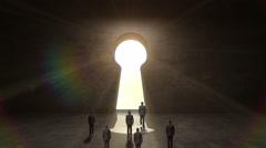 Businessman walking through shape of Keyhole.black wall. Stock Footage