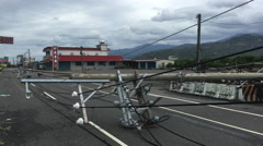 Power Lines Block Road After Major Hurricane Hits Coast Stock Footage