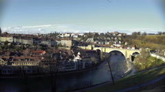 Panorama of old beautiful European city and river on sunny winter day, tourism Stock Footage