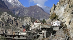 Village of Manang. Mountains in background. Annapurna area, Himalaya, Nepal Stock Footage
