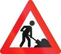 Warning road sign used in Denmark - Road works Stock Illustration