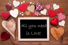 One Chalkbord, Many Red Hearts, All You Need Is Love Stock Photos