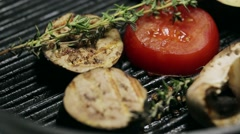 Grilled vegetables on the grill pan and theme Stock Footage