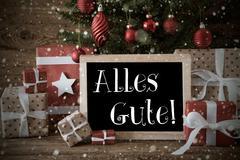 Nostalgic Christmas Tree, Snowflakes, Alles Gute Means Best Wishes Stock Photos