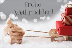 Reindeer With Sled, Silver Background, Frohe Weihnachten Means Merry Christmas Kuvituskuvat