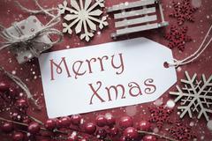 Nostalgic Christmas Decoration, Label With Text Merry Xmas Kuvituskuvat