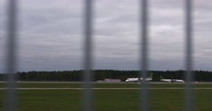 Airbaltic plane takeoff from airport in Riga Stock Footage