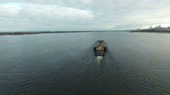 Empty barge is moving up the Volga river Stock Footage