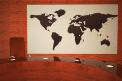 TV studio with world map Piirros