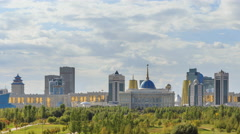 The main attractions of the new Astana. Ak orda Palace, Baiterek, KhanShatyr and Stock Footage