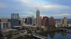 Downtown Austin, Texas Dusk Aerial Stock Footage