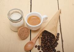 Espresso coffee and beans Stock Photos