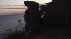Black sea rocks  nature sky bonfire Crimea Russia Sevastopol Fiolent Stock Footage