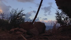 Crimea Russia Sevastopol Fiolent - Black sea, rocks , Sky , plants Stock Footage