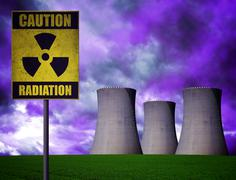 Nuclear power plant with radioactivity warning symbol Stock Photos
