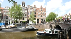 General view of an Amsterdam tour boat passes underneath a bridge Stock Footage