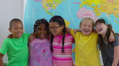 Group of students in school classroom Stock Footage