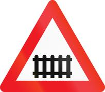 Warning road sign used in Denmark - Level crossing with barriers or gates ahe Piirros