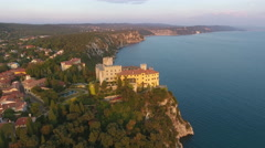 Castle Palace on Cliff Trieste Italy Coast at Sunset 002 Stock Footage