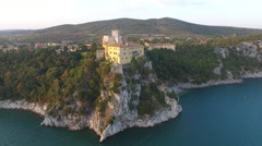 Palace on Cliff Trieste Italy Coast at Sunset 001 Stock Footage