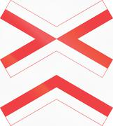 Danish warning road sign - Level crossing with multiple tracks Piirros