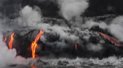 Handheld Footage Hawaii Lava Forming New Land 01 Stock Footage