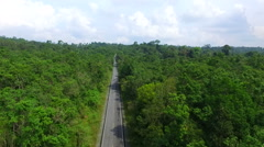 Aerial view of mountain highway in khao yai national park thailand Stock Footage