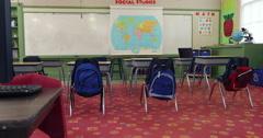 Empty school classroom, jib up Stock Footage