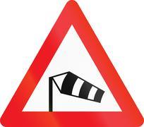 Warning road sign used in Denmark - Side winds Stock Illustration