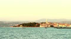2 yachts sail into the port on the Adriatic coast. Izola, Slovenia. Stock Footage