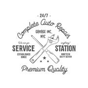 Service station vintage label, tee design graphics, complete auto repair Stock Illustration