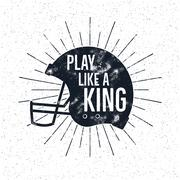American Football retro helmet label with inspirational quote text - play like a Piirros