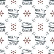 Vintage airship seamless pattern. Retro Dirigible wallpaper design with steering Stock Illustration