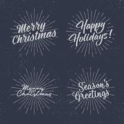 Set of Christmas lettering, wishes and vintage labels. Season's greetings Stock Illustration