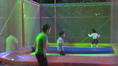 Iran-Isfahan-Park-Children-Trampoline Stock Footage