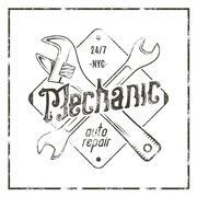 Mechanic auto repair label. Vintage tee design graphics, complete car repair Stock Illustration