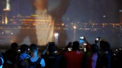 People Shooting Video of Fountain Show with Smartphone in Night City Stock Footage