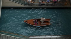 Gondola Boat Floating in River Canal with Tourist Stock Footage