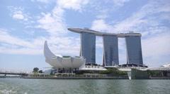 Marina Bay Sands Resort Hotel Against Blue Sky Stock Footage