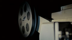 Reel film projector, the end of the film, close up Stock Footage