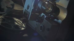Operation of the film projector, 16 mm, the end of the movie, pan, tilt Stock Footage