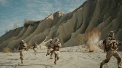Squad of Fully Equipped, Armed Soldiers Running and Attacking During Combat in t Stock Footage