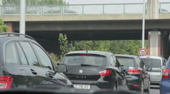 Traffic Jam on A2 motorway in Germany lower Saxony close to city Braunschweig. Stock Footage
