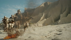 Squad of Fully Equipped, Armed Soldiers Running and Attacking  Stock Footage