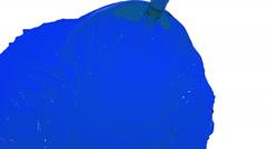 Blue liquid flow falls fills screen slow motion. clear liquid Stock Footage