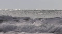 Big waves at on stormy beach Stock Footage
