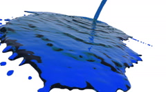 Blue liquid flow covers a surface in slow motion. clear liquid Stock Footage