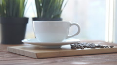 Coffee cup is on the table Stock Footage