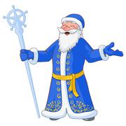 Russian jolly Ded Moroz with divorced hands and ice staff. Vector Illustratio Stock Illustration