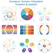 Set Infographics conceptual cyclic processes five positions Stock Illustration